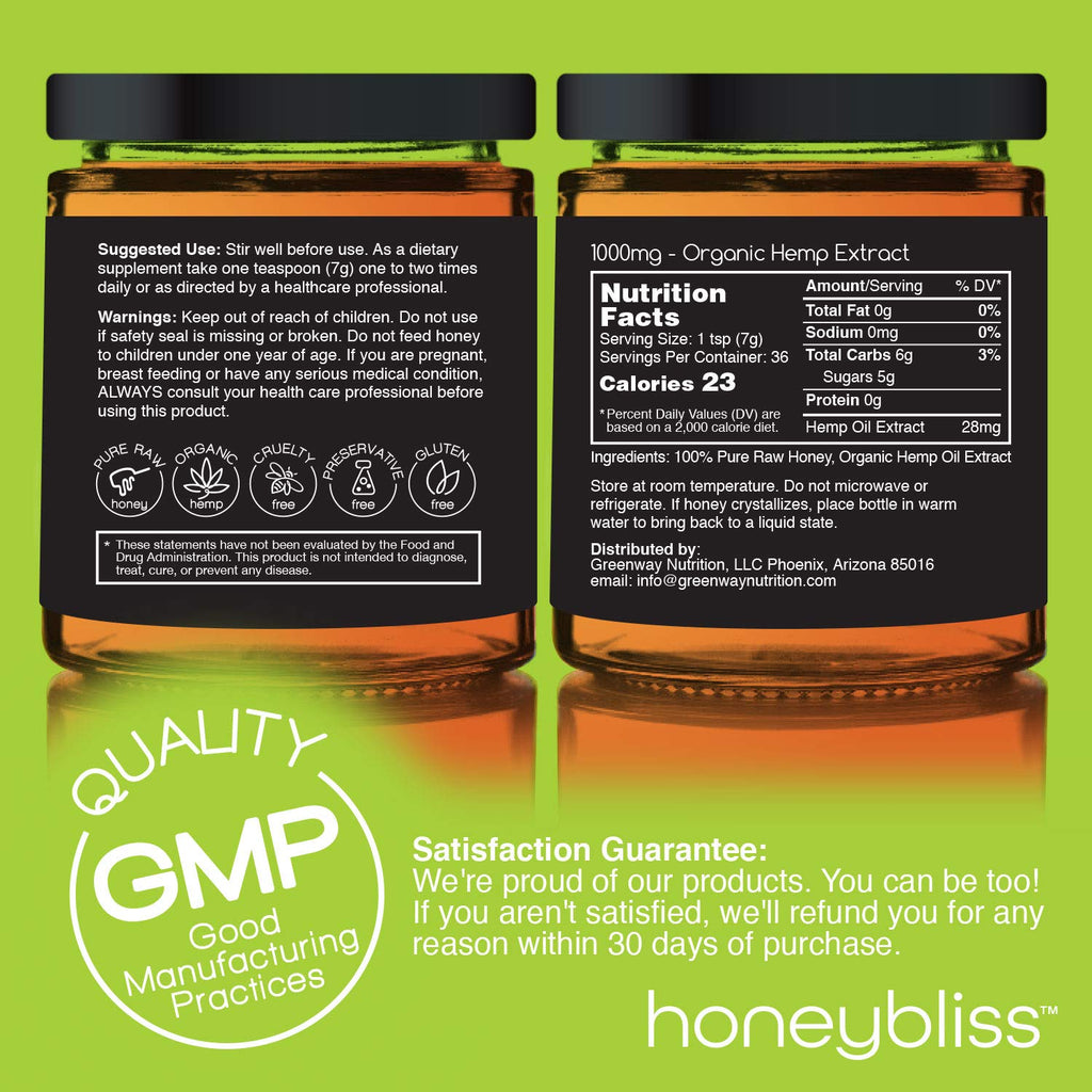 Honeybliss Raw Clover Honey w/  Hemp Extract | 1000mg | 9oz