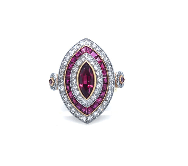18K Gold Diamond and Ruby Infused Ring