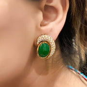 18k Yellow Gold Diamond Natural Jade Jadeite Clip-On Earrings