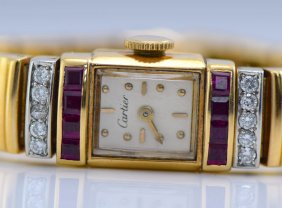 Cartier 14K YG Diamond & Ruby Watch, 1940's