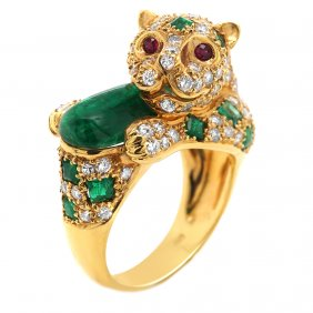 PANTHER DIAMOND Emerald And 18K Gold Ring