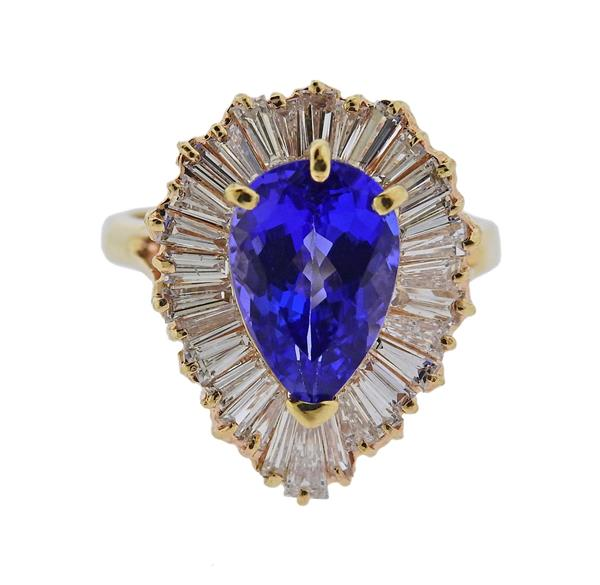 14K Gold Diamond Tanzanite Ring