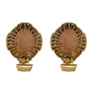18k Yellow Gold Angelstein Coral 2.5 CT Round Brilliant Cut Diamond Earclips