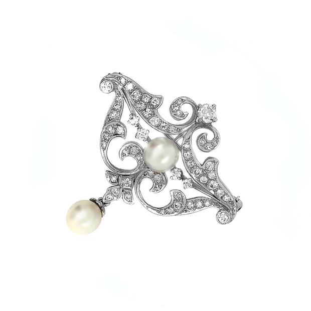 Art Deco Platinum Diamond Pearl Pendant