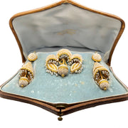 Victorian Natural Pearl 18k Gold Brooch & Earring Set