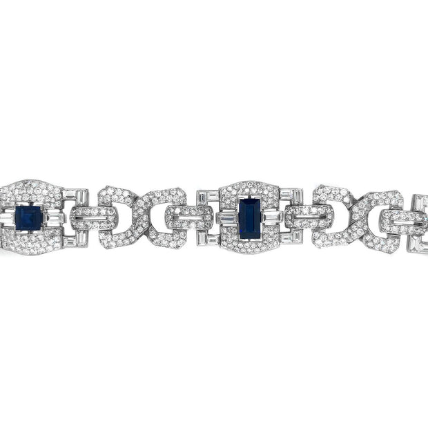 Art Deco Platinum 8CT Sapphire 25CT Diamond Bracelet