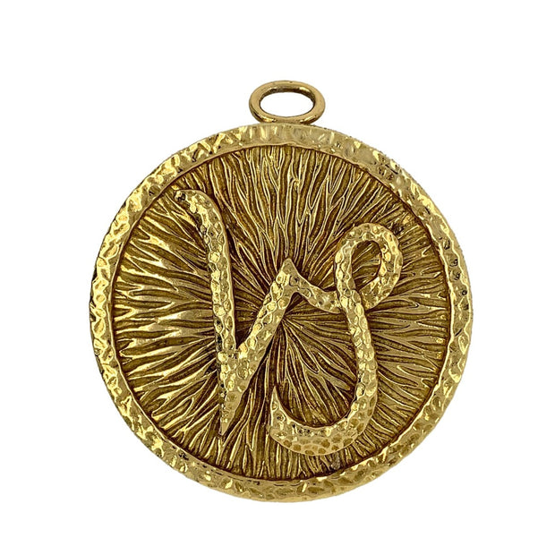 David Webb 18K Yellow Gold Zodiac Pendant Brooch For Capricorn