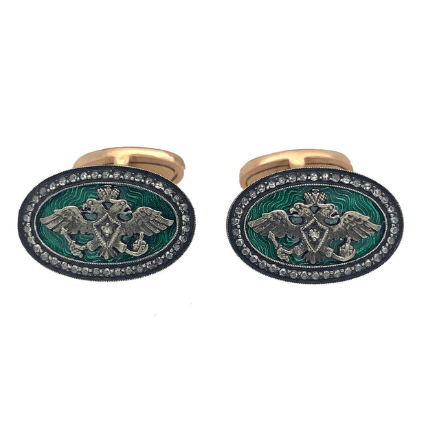 14k Gold Enamel Cufflinks