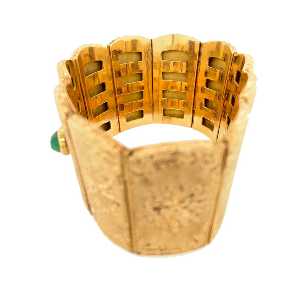 Cazzaniga 18k Yellow Gold & Emerald Wide Bracelet
