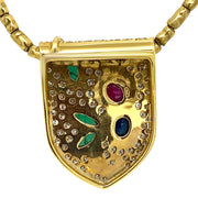 18K Yellow Gold Diamond Emerald Ruby  and  Sapphire Necklace Pendant