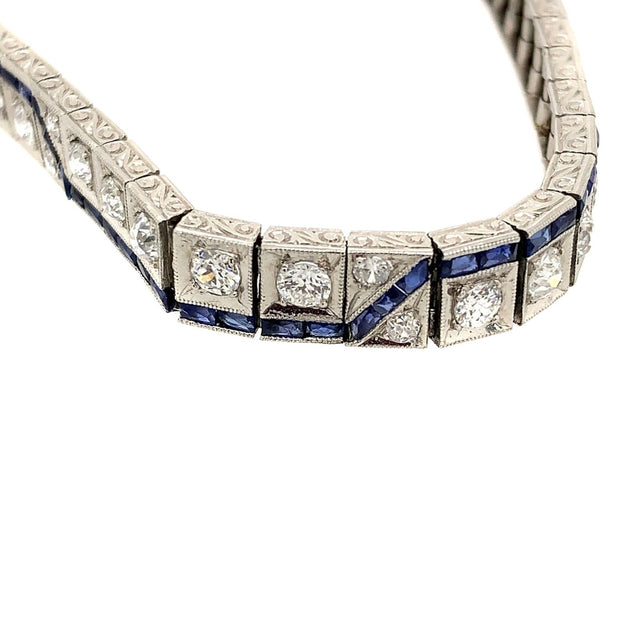 Art Deco 1920s Platinum Diamond Synthetic Sapphire Bracelet
