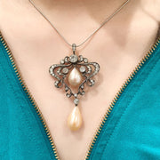 Edwardian Diamond Pearl Pendant
