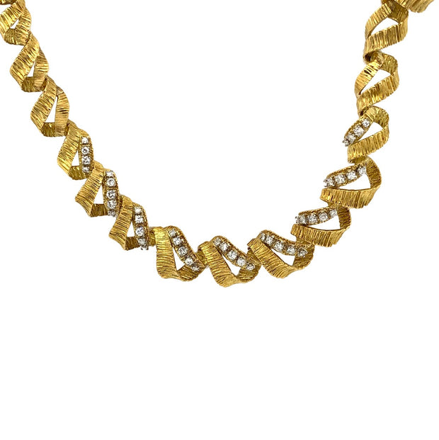 Twisted 18k Yellow Gold Diamond Necklace