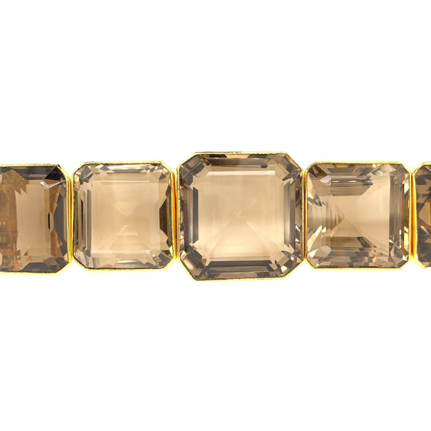 Tony Duquette Spectacular Large Size Smoke Topaz Gold Plated Bracelet