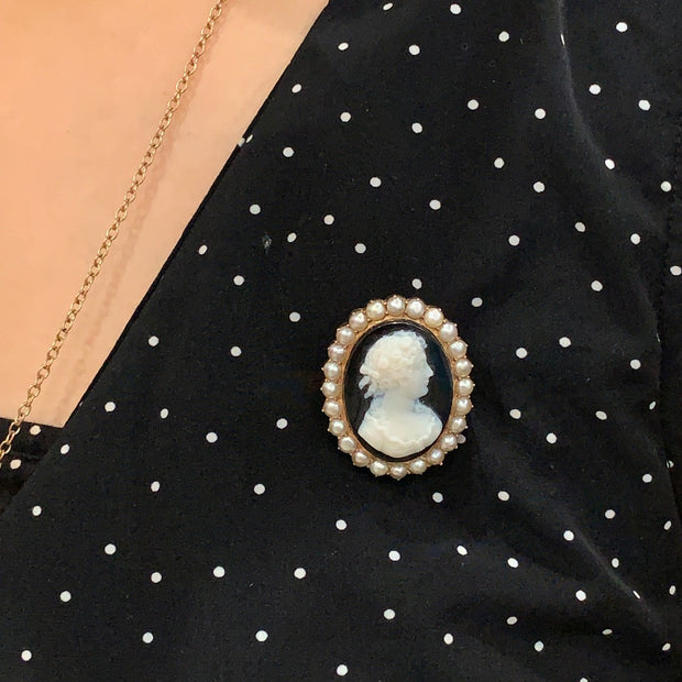 Cameo Hardstone Brooch Set With Natural Pearls