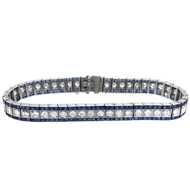 Oscar Heyman Art Deco Platinum French Cut Sapphire Diamond Bracelet