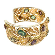 Mario Buccellati 18k Yellow Gold Multicolored Gemstones Leaf Bracelet