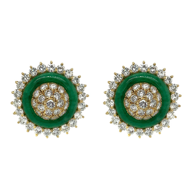 18K Yellow Gold Diamond Jade Clip- On Earrings