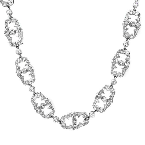 14k White Gold Diamond Necklace Converted To Bracelet