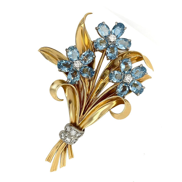Cartier 14k Yellow Gold Aquamarine Diamond Leaf Brooch