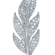 Platinum Art Deco Leaf Diamond Brooch