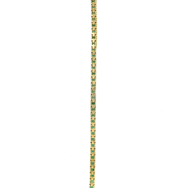 18k Yellow Gold Emerald Line Bracelet