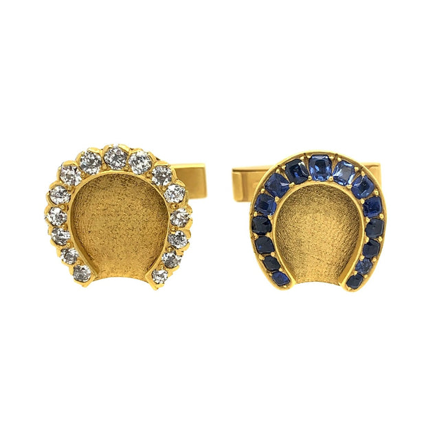 14k Yellow Gold Antique Horse Shoe Cufflinks