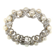 David Webb 18k White Gold Diamond Cultured Pearl Bracelet