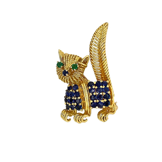 Tiffany  and  Co 18k Yellow Gold Cat Brooch