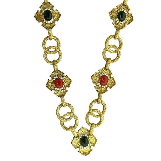 18k Yellow Gold Link Onyx Coral Diamond Necklace