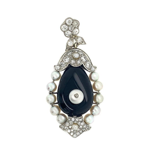 Cartier 18k Gold Diamond Set With Onyx Pendant