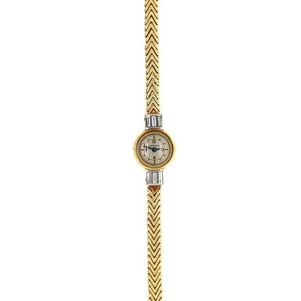 Cartier 18k Yellow Gold Baguette Shaped Diamond Watch