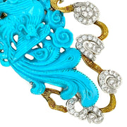 18k Yellow Gold Turquoise Diamond Brooch