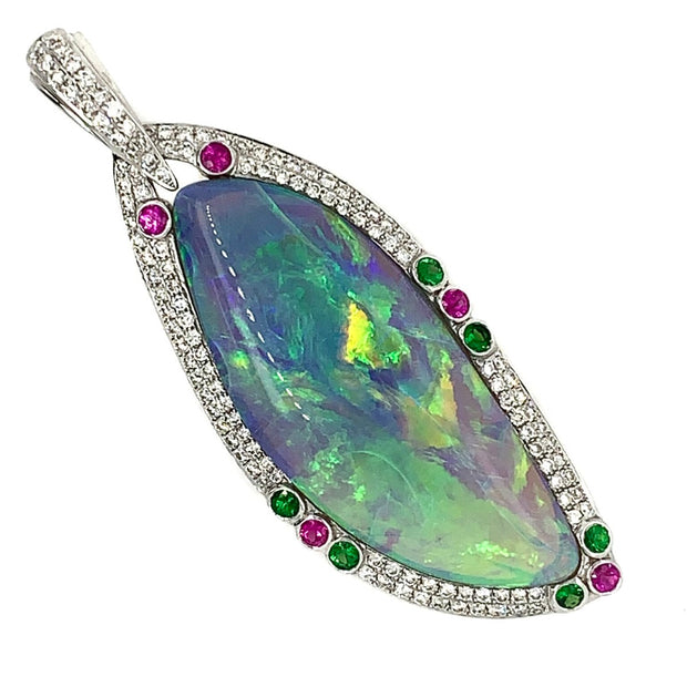 Contemporary Diamond Opal Pendant Set With Garnet  and  Rubies