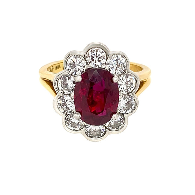 18k Yellow Gold Platinum Diamond & Ruby Ring