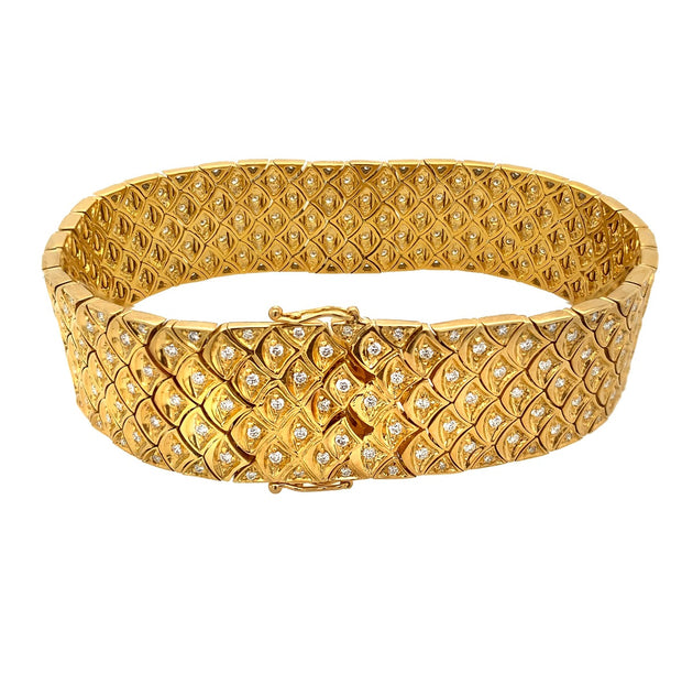 Contemporary 18k Yellow Gold Diamond Bracelet