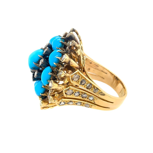 18k Gold Turquoise& Rose Cut Diamond Ring