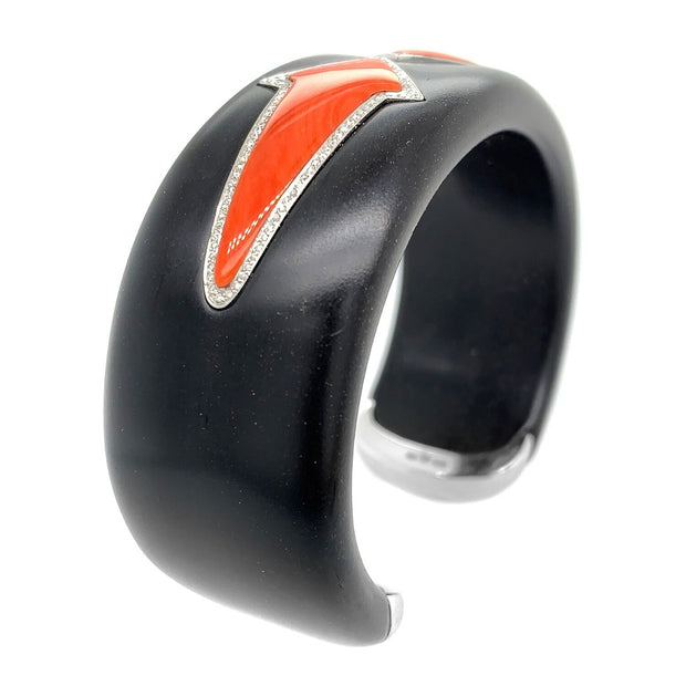 Enigma 18K Gold Onyx, Diamond and Coral Arrow Wood Cuff Bangle