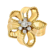 Cartier 18k Yellow Gold  and  Diamond Flower Brooch