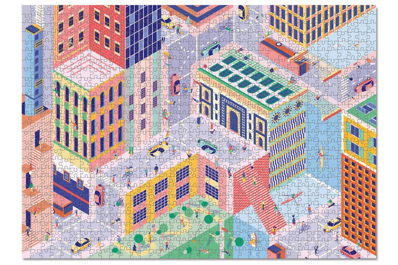 Comic Style Colourful Puzzle of an upside-down city accompanied by  people, cars, buses, a canal, parks and playground