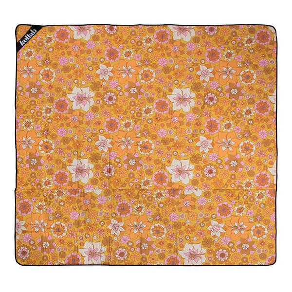 picnic rug retro orange floral pattern waterproof