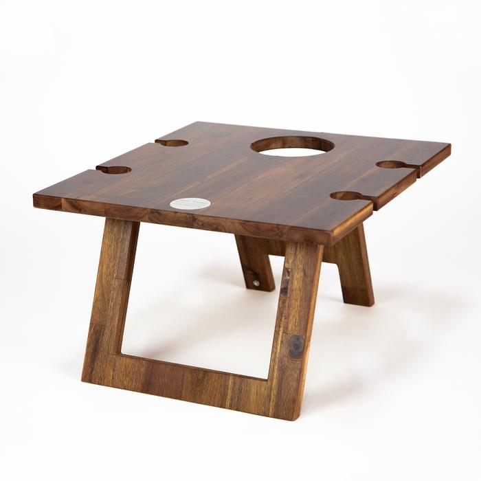 Folding Timber Picnic Table with 4 Glass Holders and 1 Bottle Holder