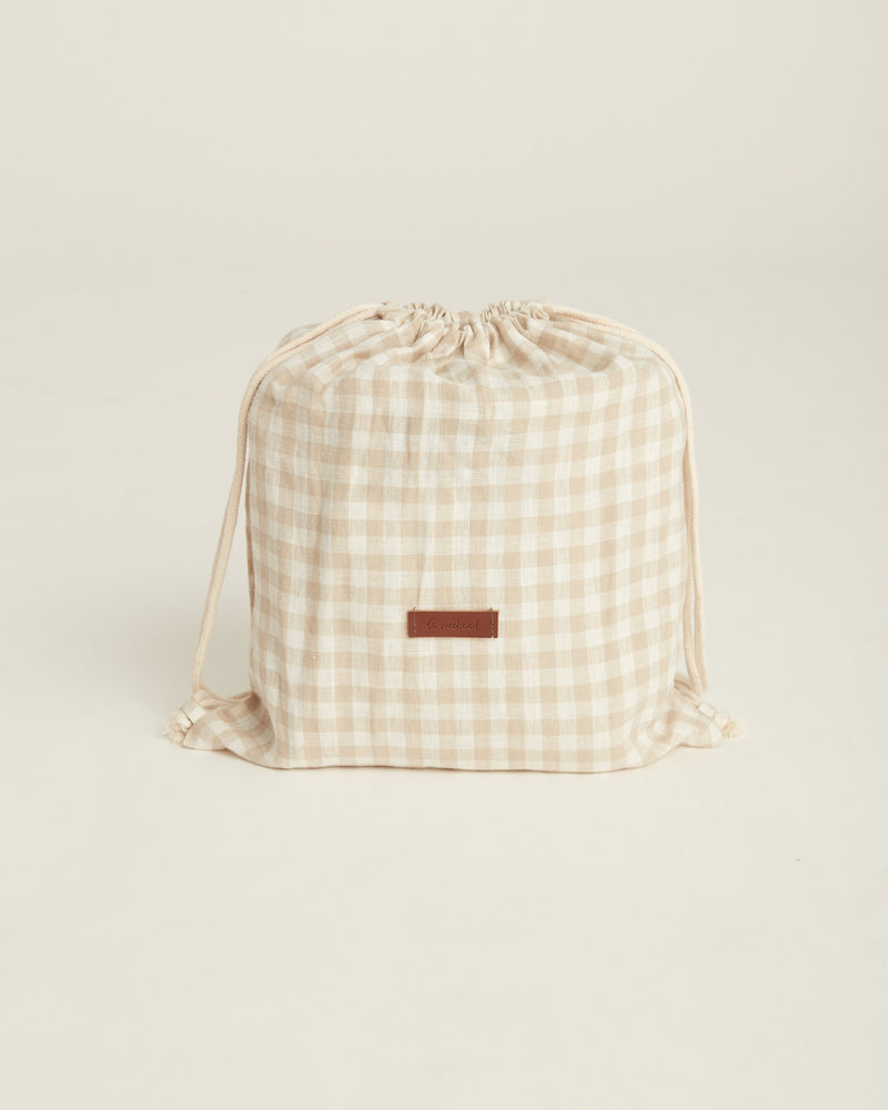 almond check picnic rug