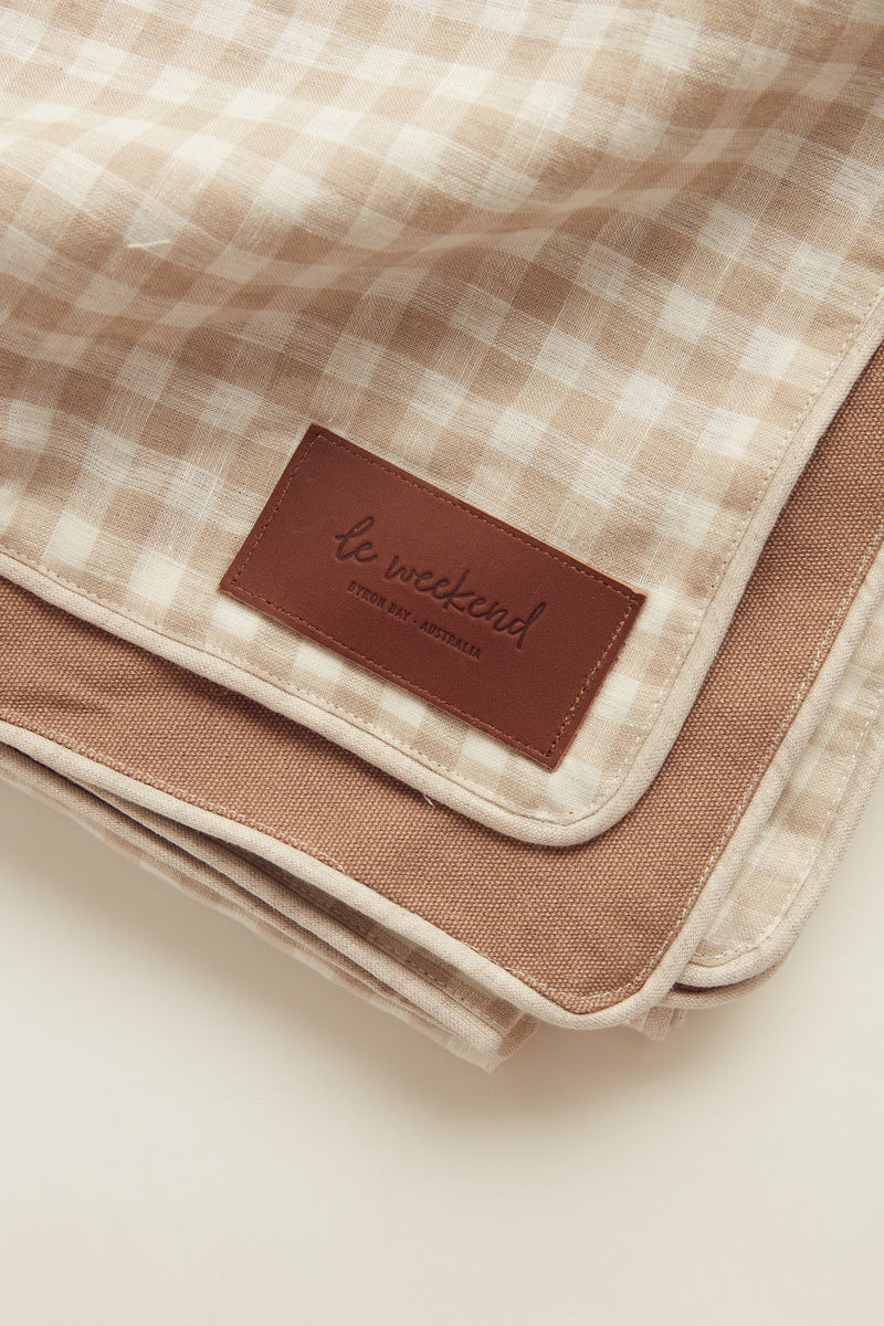 almond linen check picnic blanket