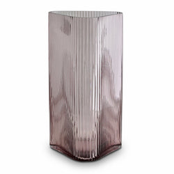 retro hand cast pink ribbed triangular glass vase