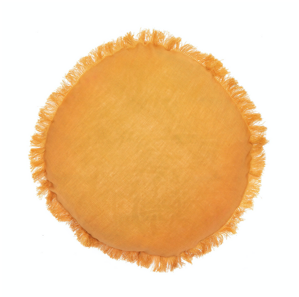 tan round linen cushion with fringe