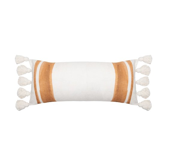cream & tan oblong cushion with tassels