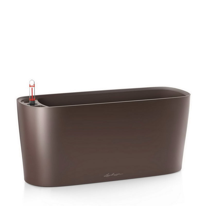LECHUZA DELTA 20 High-Gloss Poly Resin Table Self-watering Planter with Substrate H18 L40 W15 cm