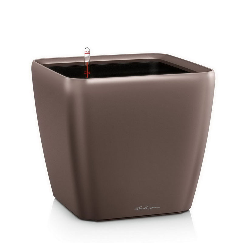 LECHUZA QUADRO LS 43 High-gloss Poly Resin Floor Self-watering Planter with Substrate H40 L43 W43 cm