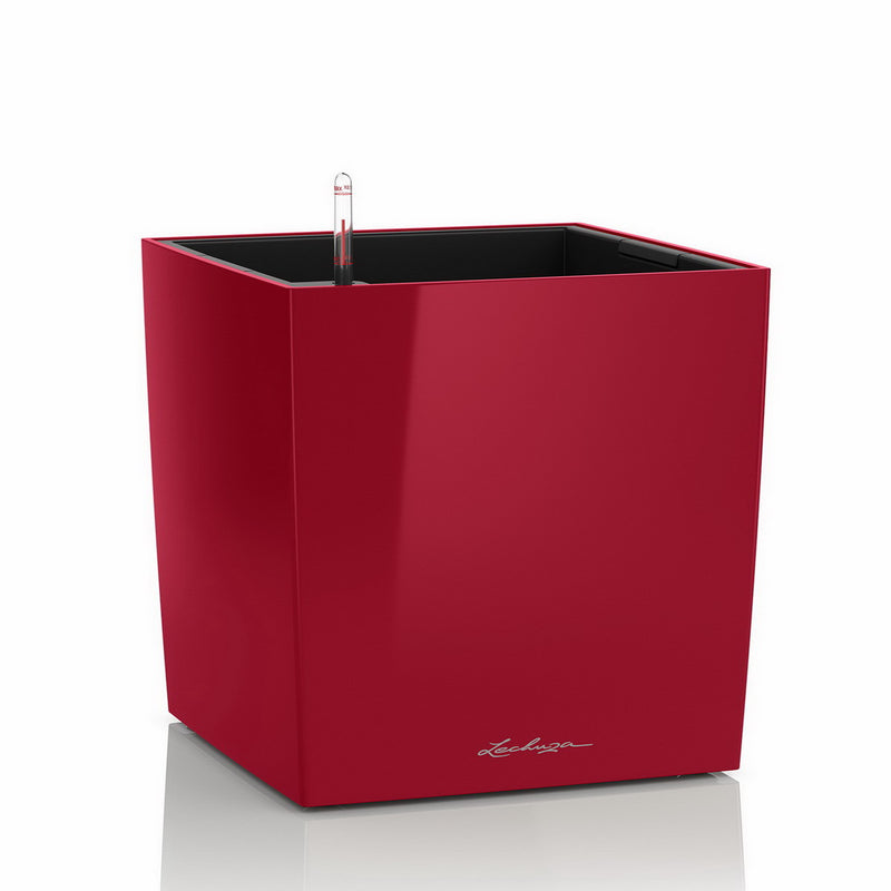LECHUZA CUBE 40 High-gloss Poly Resin Floor Self-watering Planter with Substrate D40 H40 L40 W40 cm